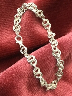 925 Silver round & faceted wire Bracelet