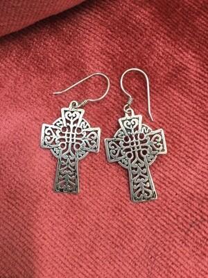Earrings - Sterling silver Celtic Cross