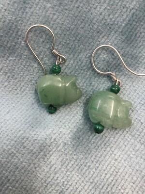 Earrings - Carved Green Adventurine