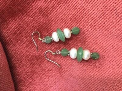 Earrings - Adventurine & Pearls