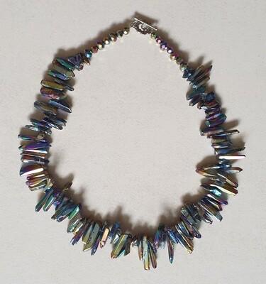 Rainbow Titanium Quartz Chip Necklace