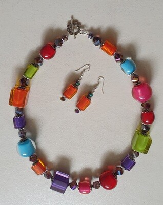 Multicoloured Sobral Resin & crystal bead necklace & earrings