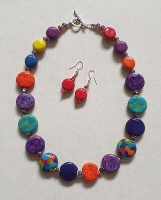 Multicoloured hand glazed Ceramic bead necklace and earrings