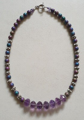 Amethyst, Haematite & Sterling Silver necklace