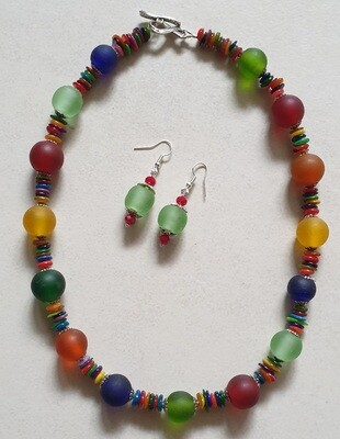 Multicoloured sea glass and shell necklace & earrings