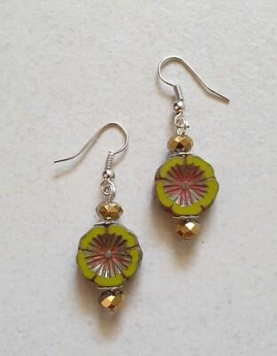 Czech glass, green flower earrings