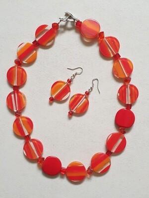 Orange stripe Resin bead necklace and earrings