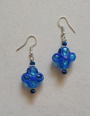 Blue glass flower earrings