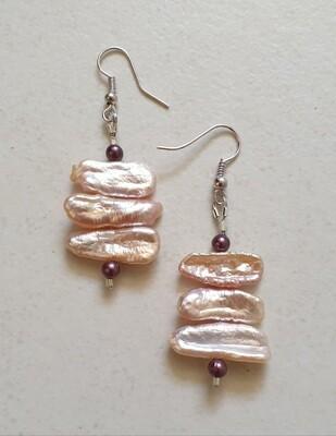 Creamy pink pearl earrings