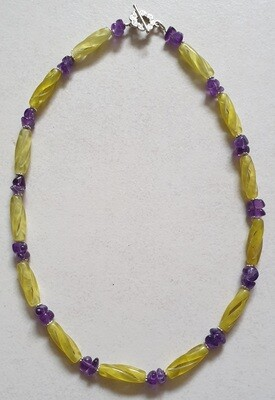 Carved Serpentine beads with Amethyst chips necklace