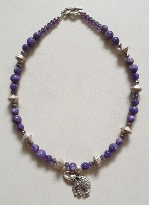 Sugilite & Sterling Silver necklace with Sterling Silver elephant pendant