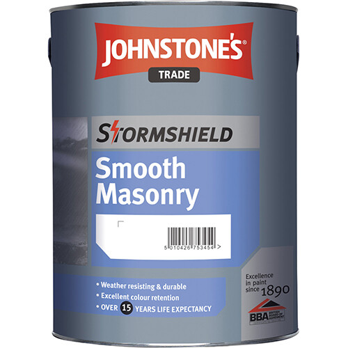 Акриловая краска Johnstones Stormshield Smooth Masonry  для наружных работ  5 л. (BW)