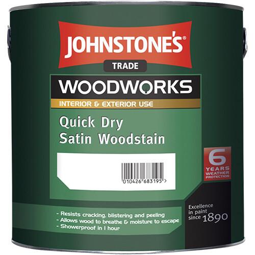Быстросохнущее защитное покрытие Johnstone's Quick Dry Satin Woodstain 2,5 л. (Дуб светлый)