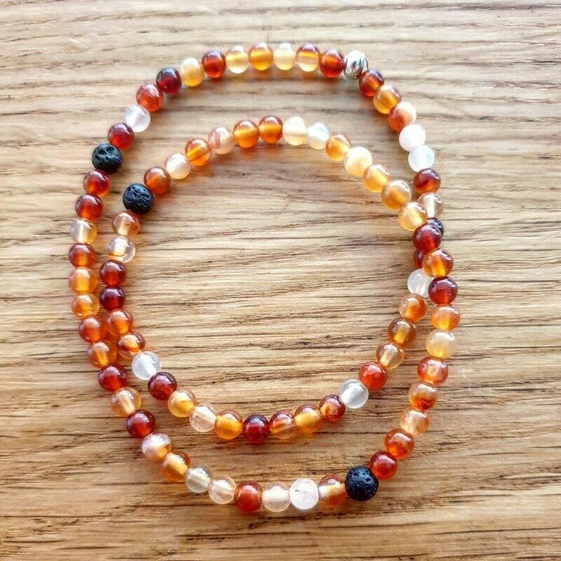 CORNALINE, pierre de réconfort. Bracelet double.