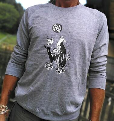 Pull en coton bio gris chiné - coupe masculine
