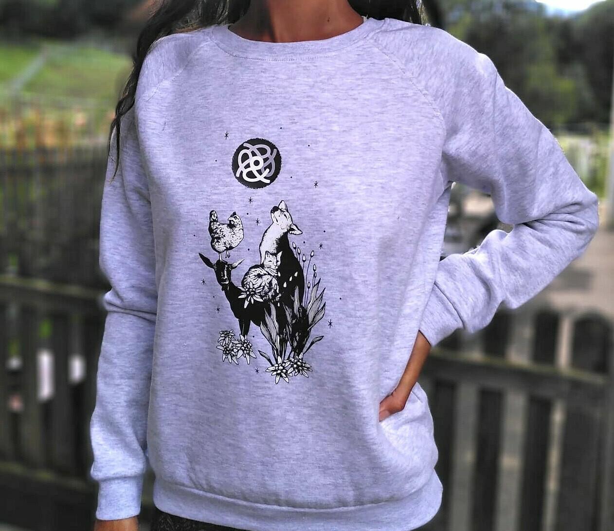 Pull en coton bio gris clair - coupe féminine
