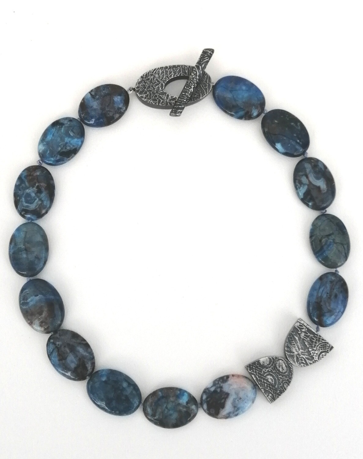 Blue agate and silver detailed elements