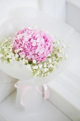 Pink Hydrangea + Baby's Breath Bouquet