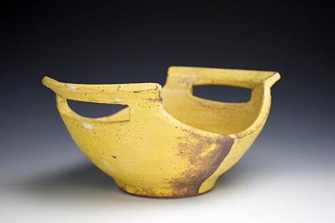 Yellow Cut Handled Bowl
