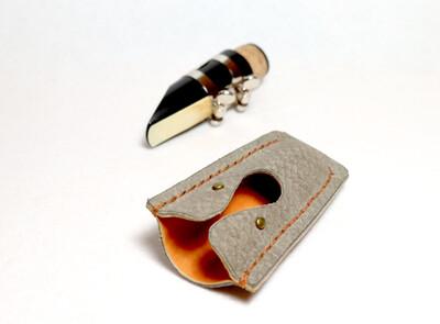 Clarinet Mouthpiece Cap Leather | New Design Custom Made, Grey & Orange tan
