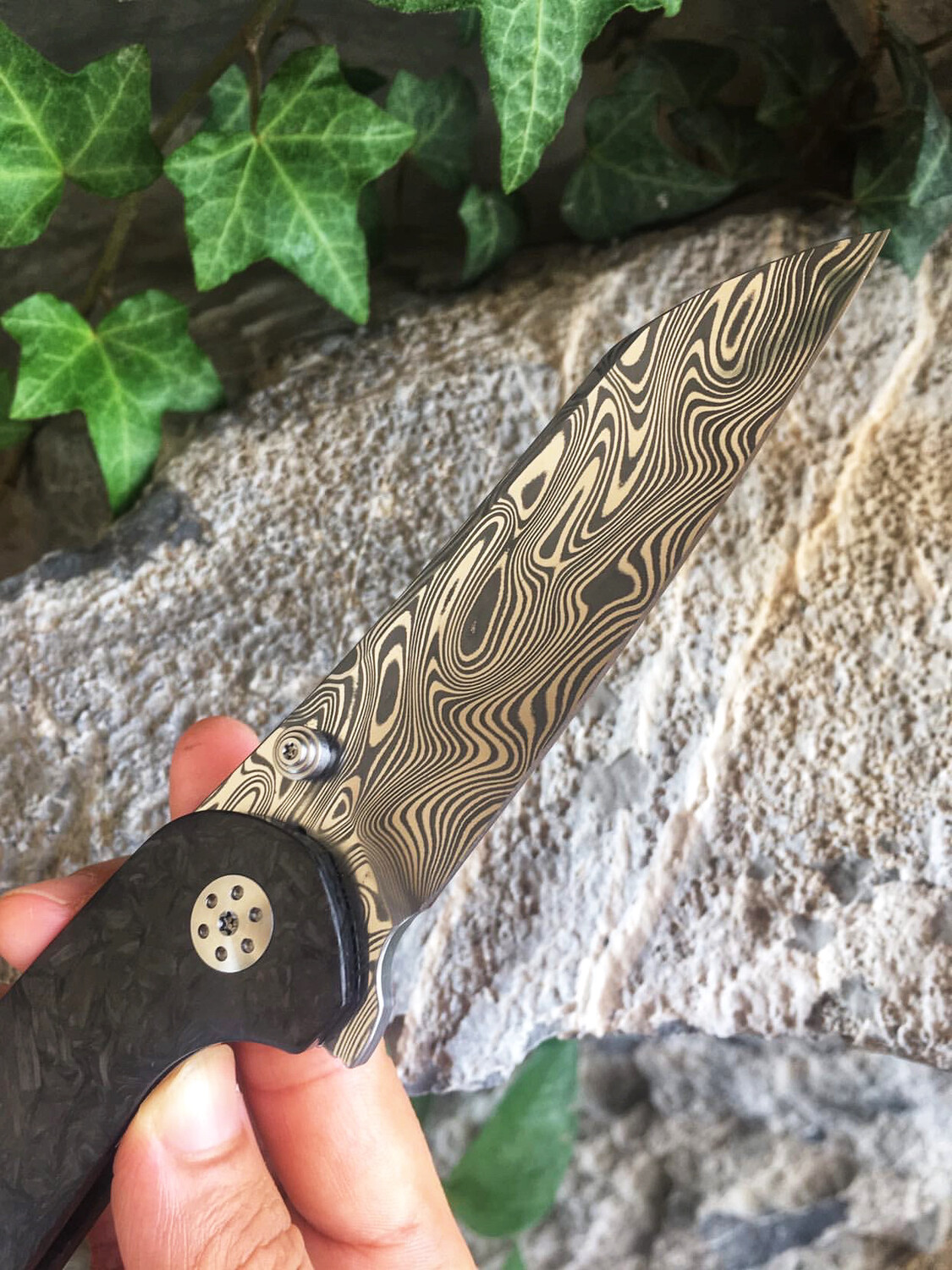 Progeny V2 Thor Damasteel with Marbled Carbon Fiber and Timascus