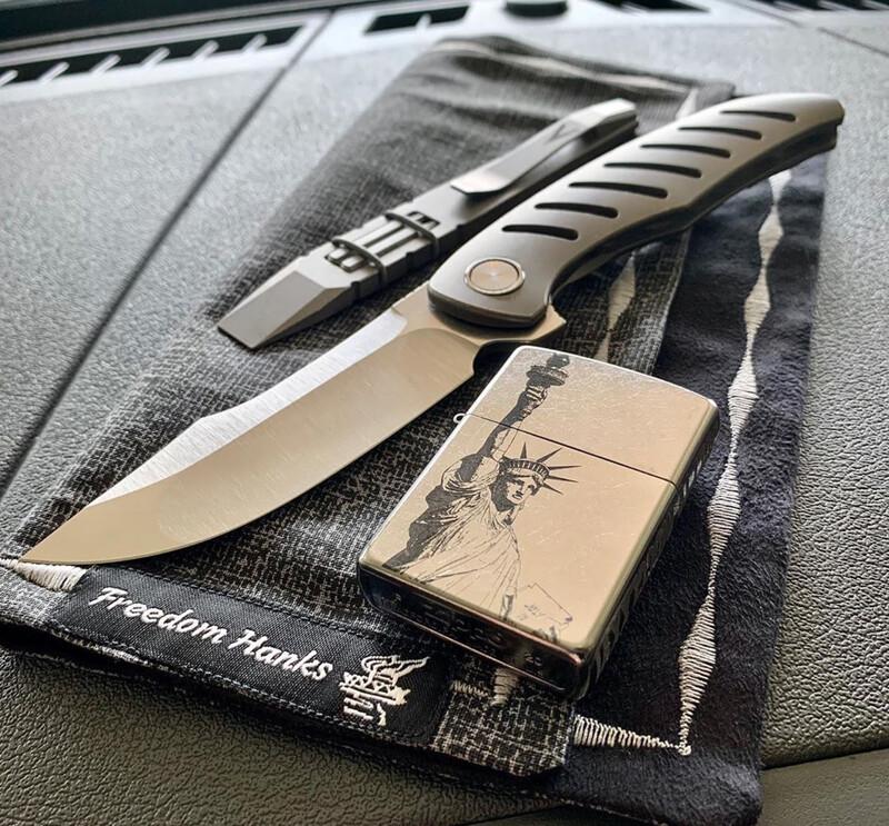 Xerx Integral Black PVD Titanium with Satin Hollow Ground Blade (No Milled Holes)