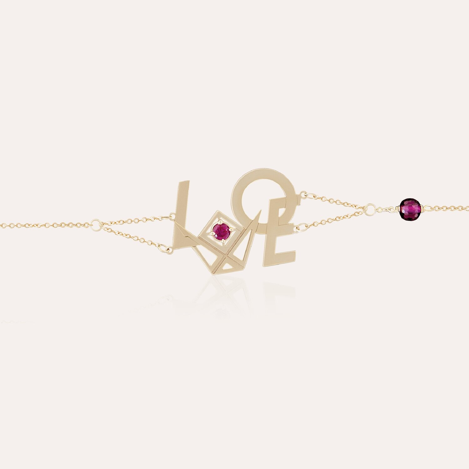 Love Chain Bracelet Gold & Semi Precious