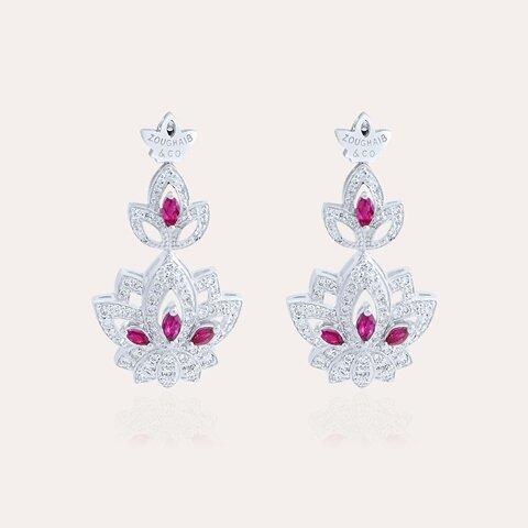 Lotus Earrings Diamond & Ruby