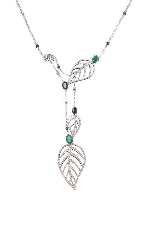 Leaves Pendant Diamond Emerald & Sapphire