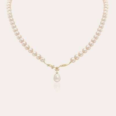 Eternal Necklace Pearl Yellow Gold & Diamond