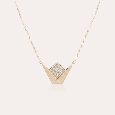 Emblem Pendant Pink Gold Diamond