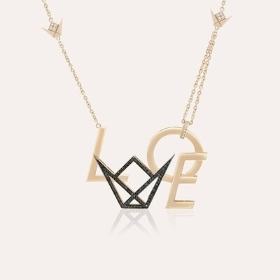 Love Pendant Gold Diamond & Black Diamond