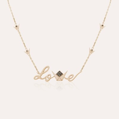 Love Pendant Gold & Black Diamond