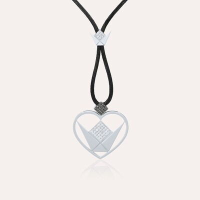 Love Pendant Heart White Gold & Diamond