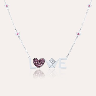Love Pendant White Gold Diamond & Ruby