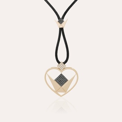Love Pendant Heart Gold Diamond & Black Diamond