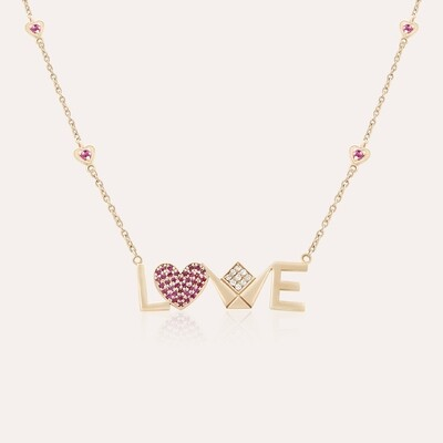 Love Pendant Gold Diamond & Ruby