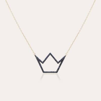 Crown Pendant Gold & Black Diamond