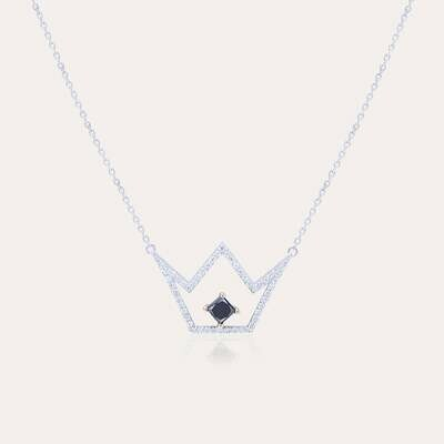 Crown Pendant White Gold Diamond & Black Diamond