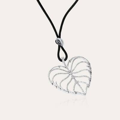 Leaves Pendant White Gold Diamond