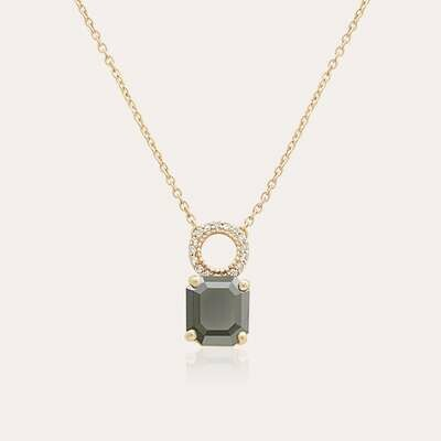 Classic Pendant Gold With Black & White Diamond