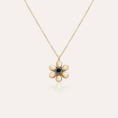 Classic Flower Gold Pendant & Black Diamond