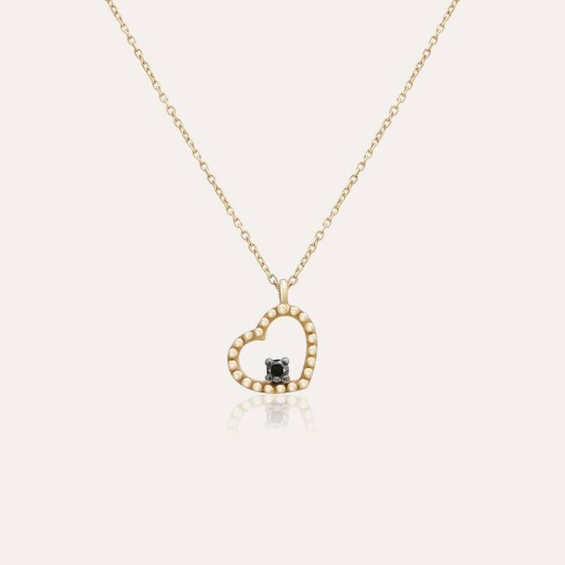 Classic Pendant Gold Heart & Black Diamond