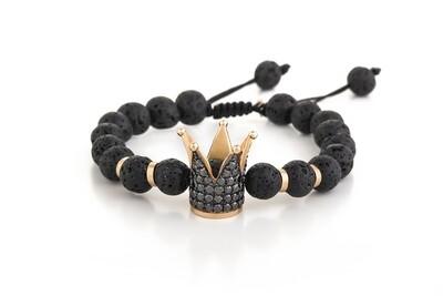 Crown Bracelet Gold Black Diamond & Lava
