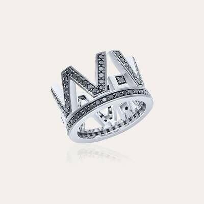 Crown Ring White Gold & Black Diamond