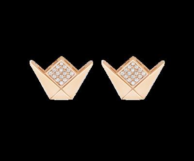 Gold Emblem Earrings & Diamond