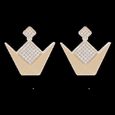 Emblem Earrings Gold White Diamond