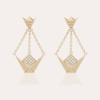Emblem Gold Diamond Earrings