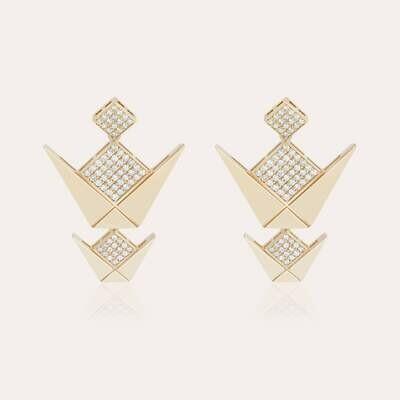 Gold Emblem Earrings & White Diamond