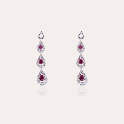 Bridal Earrings White Gold Diamond & Ruby